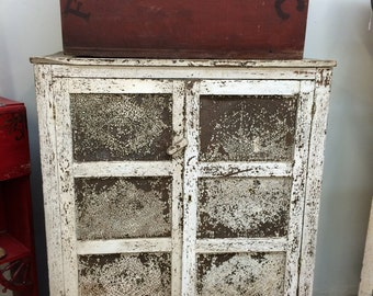 Antique Pie Safe , Primitive Pie Safe  with Original White Flaky Paint and 12 Tins