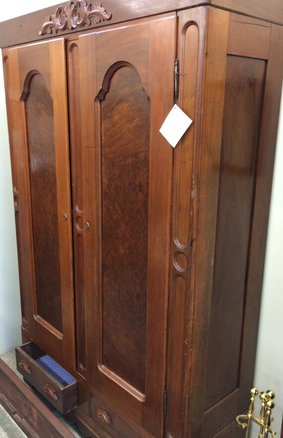 Antique Solid Walnut Wardrobe Armoire 1800's Carved