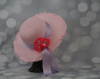 Tea Party Hat; Pink Easter Bonnet with Ribbon; Girls Sun Hat; Pink Easter Hat; Sunday Dress Hat; Derby Hat; 16248