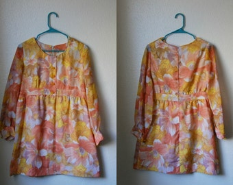 L Vintage 60s/70s Yellow and Orange Floral Mini Dress