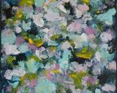Large Abstract Painting abstract painting abstract flowers indigo aqua pink  Happiness  15 x 30 Swalla Studio
