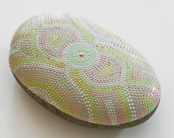 Victorian Brooch Design Hand Painted Dot Rock