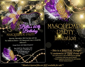 masquerade invitation mardi gras party party by bellaluella, Party invitations