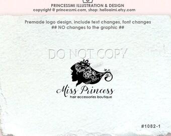 1082-1  Girl silhouette logo, girl logo, hair accessories logo, boutique logo, Custom / photography logo salon logo by princessmi