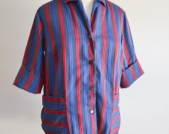 1960s Stripe cotton loose blouse or jacket / 60s cuffed St Michael red & blue stripy top - S M