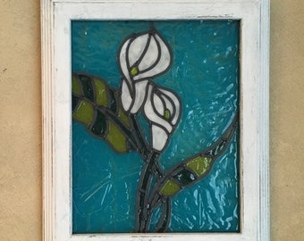 Lily Faux Stained Glass Frame • Stained Glass Lilies • Floral Stained Glass Look • 8x10 Frame • Ready to Ship