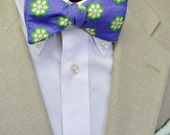 Sliced Okra Men's Bow Tie on 100% Organic Cotton Sateen on a Purple/Blue Background, Self-tie Bow Tie, Pre-tied Bow Tie, Adjustable Bow Tie