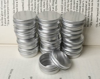 10ml screw lidded metal tins, blank round silver color, 12 tin boxes, small storage for diy project