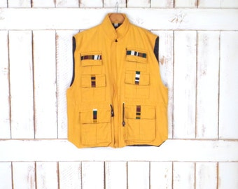 Vintage yellow/gold woven knit tribal vest/embroidered woven vest/fishing/outdoors vest/XL