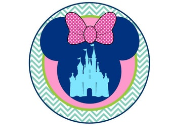 Minnie Cute as can be Disney Cinderella's Castle with chevron and polka dots at Giggles to Go.