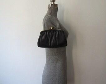 Gorgeous Soft, Plush Vintage Black Leather Kisslock Purse