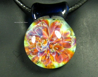 Lampwork Pendant - Boro Glass Implosion - Handmade Necklace - Artisan Crafted - Fields of Ireland
