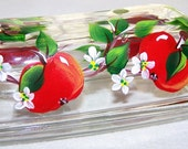 Butter Dish with hand Painted Red Apples