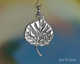 Sterling Silver Aspen Charm Tree Leaf Skiing or Colorado 3D Solid .925