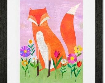 Fox in Flowers Framed Art Print
