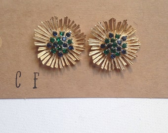 Blue and Green Crystal Rhinestone Gold Earrings - Kayla