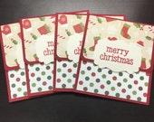 Gift Card Holders, Christmas Gift Card Envelopes, Snowman Gift Card Envelopes, Set of 4 Cards and Envelopes