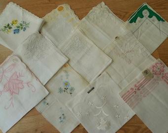 11 New & Used Cotton Handkerchiefs Hankies Lot 7