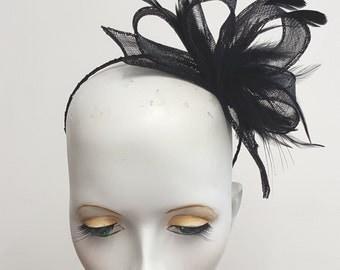 Black sinamay fascinator with  feathers headband fixing  wedding races