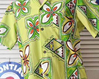 Vintage Mens Shirt/60s Hawaiian/South Wind Hawaii/Tiki-Polynesian Abstract/Lime Green/Theater Costume Souvenir/Polyester Knit Small Womens