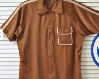 Vintage Mens Shirt 60s Rockabilly Hipster/Atomic Swag/Roland Kosser/Shiny Poly-Cotton/Short Sleeve/Brown with Tan Contrast Stripes/Med Large