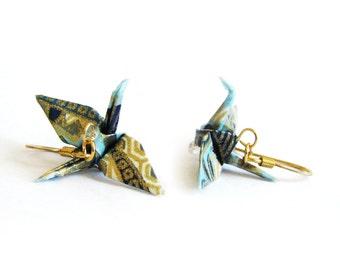 Origami Crane Earrings Aqua and Gold