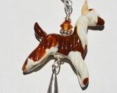 Lampwork glass alpaca suri bead pendant