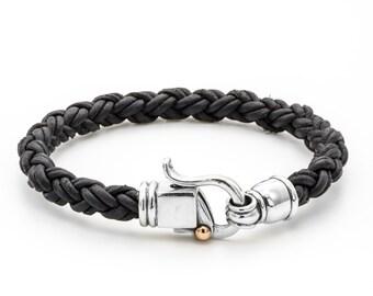 Black Bracele, Men  Leather Bracelet, Leather Jewelry for Men, Black Bracelet for Men, Leather Mens Bracelet , Leather Braided Bracelet