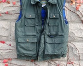 Green Cargo Vest, Outerwear, Mens Coat, Hunting Vest, Flannel Plaid, Army Green Vest, Gifts for Him, Mens Vintage Clothes, Winter, Mens