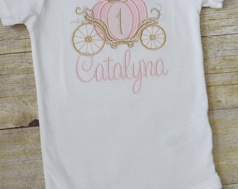 Cinderella Carriage Bodysuit - Pink and Gold Princess Birthday Baby and Toddler  - Birthday Party - Girl - First or Second Birthday