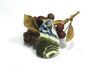 Ceramic Pendant - Dark Green and Blue Agateware Pendant (Hand Carved OOAK Stoneware Focal Pendant, Keychain, Gift Tag, Ceramic Necklace)