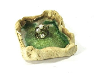 Ceramic Ashtray / Ring Holder - Summer Green Lagoon, Personal Ashtray (OOAK Coffee Spoon, Tea Bag Rest - Comes With Sample Teas)