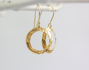 Women's Gift, Gold Earrings ,Gold hoop earrings, Gypsy girl ,Hammered Hoops Earrings,Bridesmaid Earrings,Wedding Jewelry