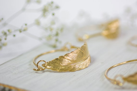 Gold Feather Bracelet ,Bridal Accessories, Gold Wedding Bracelet, Unique Gold Feather Bracelet , Boho Wedding Bracelet, Bohemian Jewelry