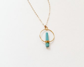 Turquoise Geometric  Necklace 14kt Gold // Geometric Jewelry // Simple Everyday Jewelry // Green Blue Crystal