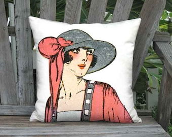Lipstick Red French 1920s Fashion Hat Pillow Cover - 16x 18x 20x 22x 24x 26x 28x 30x 32x Inch Linen Cotton Fashion Cushion Cover