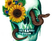 Serpiente - Skull Watercolor Art Print