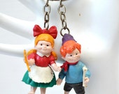 Set of Two Fairy Tale Keychains - Hansel and Gretel - Vintage Advertising Key Ring