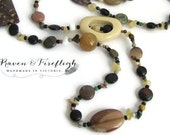 Long gemstone necklace, earthy necklace, boho necklace, winter colors, OOAK, 34 inch, brown beaded necklace, natural stone necklace