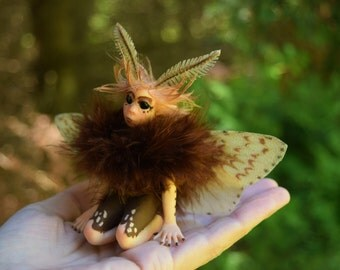 "Gypsy Moth Faery, OOAK Moth Fairy, Hand Sculpted Moth Faery Art Doll, ""Fib"""