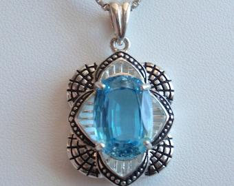 Sterling Silver Necklace Swiss Blue Topaz Vintage Estate Upcycled 130511