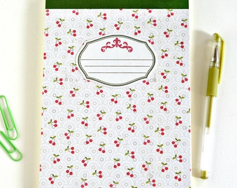 A5 notepad with cherry pattern // blank notebook jotter journal // home office stationery