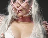 Pink color Crinoline mask with ribbon end head cage for fantasy party theater unique woman size