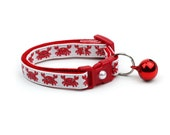 Beach Cat Collar - Happy Red Crabs - Kitten or Large Size - Tropical - Nautical