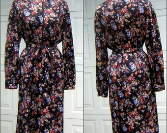 XL Vintage Robe 1970s Floral Print Silky Comfort SEARS Size 42 Black Brown Blue with Original Belt CLEARANCE