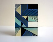 Mint blue abstract art ACEO, Geometric Abstraction, unique miniature painting on wood