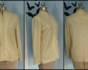 Vintage 60s 70s Womens Silver and Gold Knitwear Button Down Mandarin Collar Lurex Sweater with Rhinestone Buttons Modern Size Medium Large