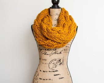GIANT Cable Knit infinity scarf in Butterscotch | Made to Order