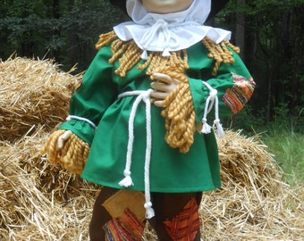 "G020    Cute Scarecrow with Yarn ""Straw"" Halloween Costume Children Sizes"