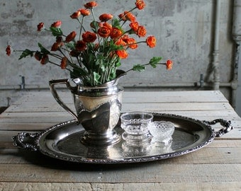 Vintage Oval Silver Tray with Handles